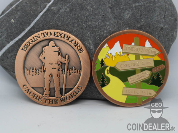 Cache the World Geocoin - INSIDE PASSAGE / Kupfer Antik