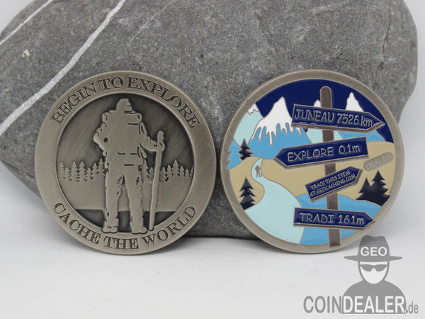 Cache the World Geocoin - ARCTIC / Nickel Antik