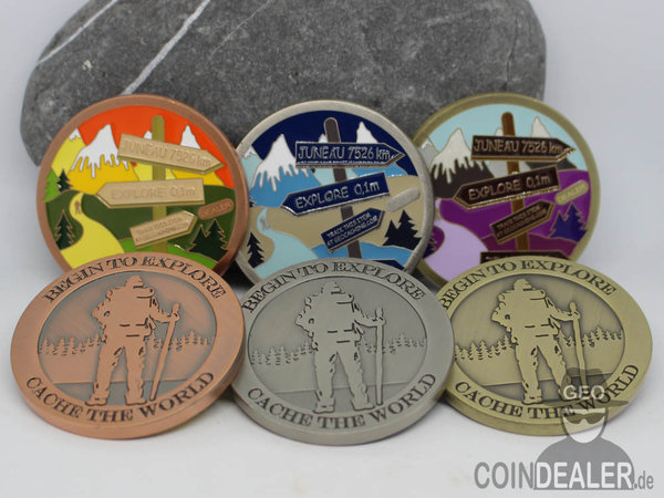 Cache the World Geocoin - 3er Set mit AE